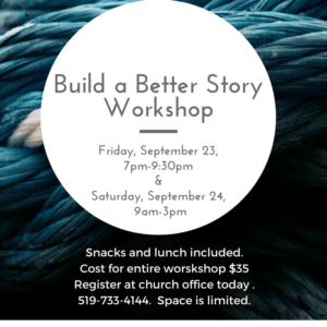 Story workshop flyer with price